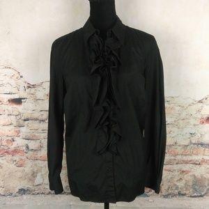 Ralph Lauren LRL Plus 1X Black Cotton Ruffle Shirt